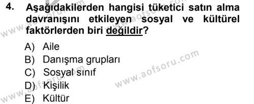 Pazarlama Yönetimi Dersi 2012 - 2013 Yılı Ara Sınavı 4. Soru