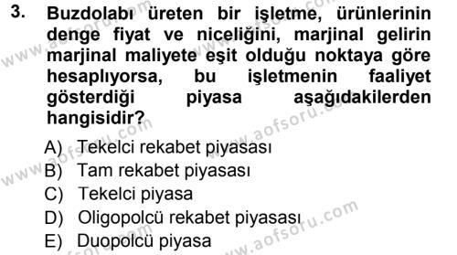 Pazarlama Yönetimi Dersi 2012 - 2013 Yılı Dönem Sonu Sınavı 3. Soru