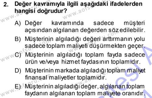 Emlak ve Emlak Yönetimi Bölümü 1. Yarıyıl Pazarlama Yönetimi Dersi 2014 Yılı Güz Dönemi Dönem Sonu Sınavı 2. Soru