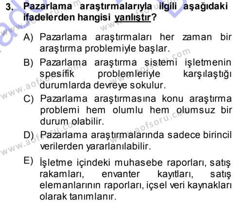 Emlak ve Emlak Yönetimi Bölümü 1. Yarıyıl Pazarlama Yönetimi Dersi 2014 Yılı Güz Dönemi Dönem Sonu Sınavı 3. Soru