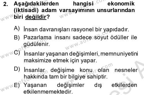 Emlak ve Emlak Yönetimi Bölümü 1. Yarıyıl Pazarlama Yönetimi Dersi 2014 Yılı Güz Dönemi Tek Ders Sınavı 2. Soru