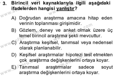 Pazarlama Yönetimi Dersi 2014 - 2015 Yılı Dönem Sonu Sınavı 3. Soru