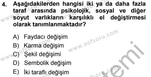 Pazarlama Yönetimi Dersi 2014 - 2015 Yılı Dönem Sonu Sınavı 4. Soru