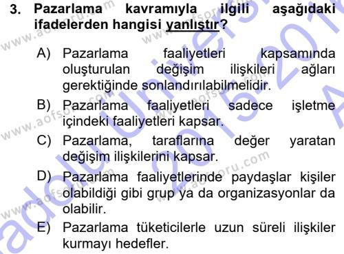 Pazarlama Yönetimi Dersi 2015 - 2016 Yılı Ara Sınavı 3. Soru