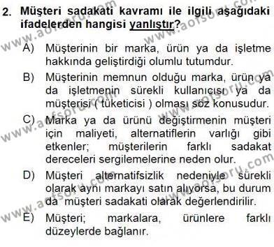 Pazarlama İlkeleri Dersi 2015 - 2016 Yılı Ara Sınavı 2. Soru