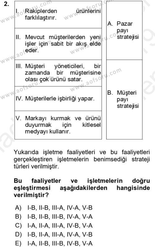 Müşteri İlişkileri Yönetimi Dersi 2018 - 2019 Yılı (Final) Dönem Sonu Sınavı 2. Soru