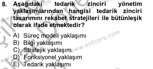 Tedarik Zinciri Yönetimi Dersi 2012 - 2013 Yılı Ara Sınavı 8. Soru 1. Soru