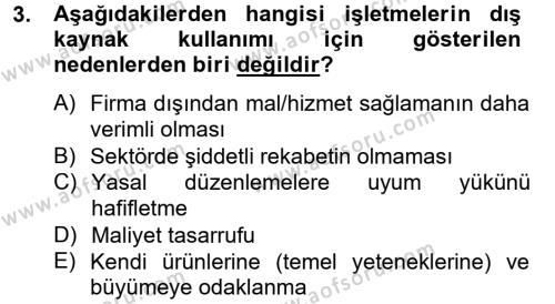 Tedarik Zinciri Yönetimi Dersi 2012 - 2013 Yılı Dönem Sonu Sınavı 3. Soru