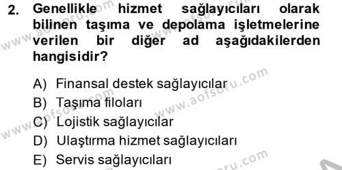 Lojistik Bölümü 4. Yarıyıl Tedarik Zinciri Yönetimi Dersi 2014 Yılı Bahar Dönemi Ara Sınavı 2. Soru