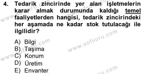 Lojistik Bölümü 4. Yarıyıl Tedarik Zinciri Yönetimi Dersi 2014 Yılı Bahar Dönemi Ara Sınavı 4. Soru