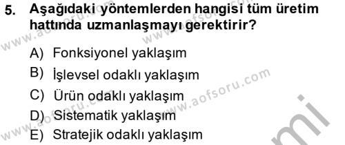 Lojistik Bölümü 4. Yarıyıl Tedarik Zinciri Yönetimi Dersi 2014 Yılı Bahar Dönemi Ara Sınavı 5. Soru