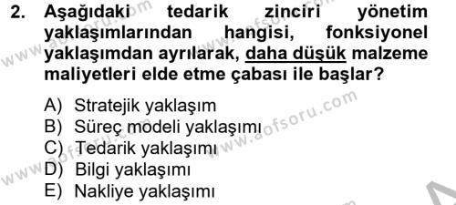 Tedarik Zinciri Yönetimi Dersi 2013 - 2014 Yılı Dönem Sonu Sınavı 2. Soru