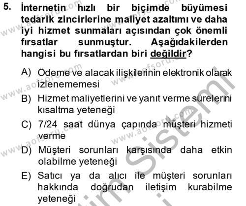 İşletme Yönetimi Bölümü 4. Yarıyıl Tedarik Zinciri Yönetimi Dersi 2014 Yılı Bahar Dönemi Dönem Sonu Sınavı 5. Soru
