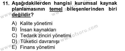 Tedarik Zinciri Yönetimi Dersi 2013 - 2014 Yılı Tek Ders Sınavı 11. Soru 1. Soru