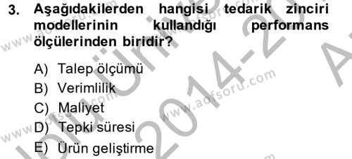 Lojistik Bölümü 4. Yarıyıl Tedarik Zinciri Yönetimi Dersi 2015 Yılı Bahar Dönemi Ara Sınavı 3. Soru