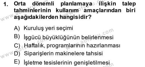 Tedarik Zinciri Yönetimi Dersi 2014 - 2015 Yılı (Final) Dönem Sonu Sınavı 1. Soru
