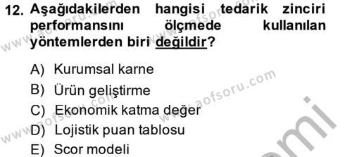 Tedarik Zinciri Yönetimi Dersi 2014 - 2015 Yılı Dönem Sonu Sınavı 12. Soru 1. Soru