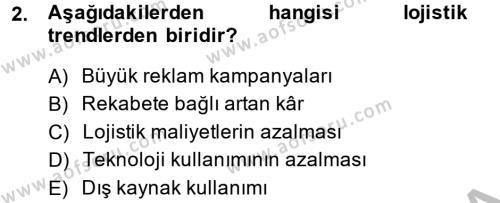 Tedarik Zinciri Yönetimi Dersi 2014 - 2015 Yılı (Final) Dönem Sonu Sınavı 2. Soru