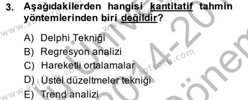 Tedarik Zinciri Yönetimi Dersi 2014 - 2015 Yılı (Final) Dönem Sonu Sınavı 3. Soru
