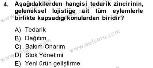 Tedarik Zinciri Yönetimi Dersi 2014 - 2015 Yılı (Final) Dönem Sonu Sınavı 4. Soru