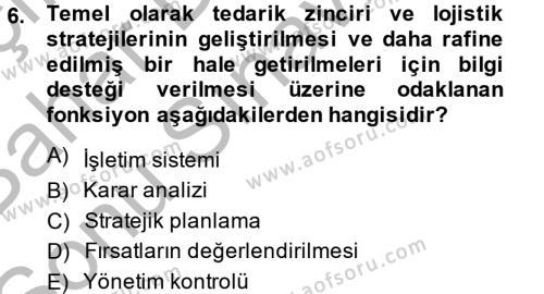 Tedarik Zinciri Yönetimi Dersi 2014 - 2015 Yılı Dönem Sonu Sınavı 6. Soru 1. Soru