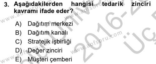 Tedarik Zinciri Yönetimi Dersi 2016 - 2017 Yılı 3 Ders Sınav Soruları 3. Soru