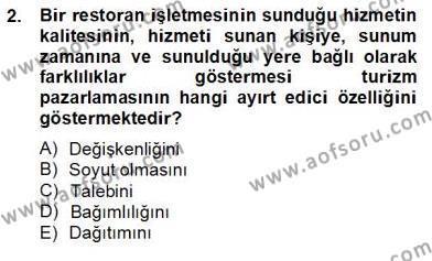 Kültürel Miras ve Turizm Bölümü 4. Yarıyıl Turizm Pazarlaması Dersi 2014 Yılı Bahar Dönemi Tek Ders Sınavı 2. Soru