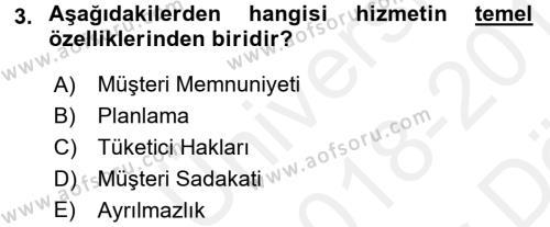 Turizm Pazarlaması Dersi 2018 - 2019 Yılı (Vize) Ara Sınav Soruları 3. Soru