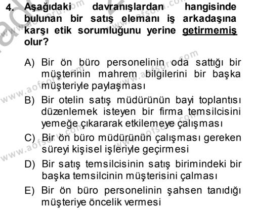 Satış Teknikleri Dersi 2013 - 2014 Yılı Ara Sınavı 4. Soru
