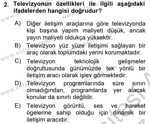 Radyo ve Televizyonda Program Yapımı Dersi 2016 - 2017 Yılı (Vize) Ara Sınav Soruları 2. Soru