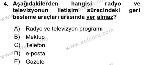 Radyo ve Televizyonda Program Yapımı Dersi 2016 - 2017 Yılı (Vize) Ara Sınav Soruları 4. Soru