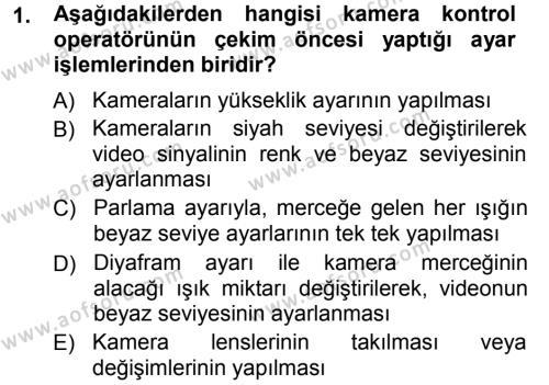 Radyo ve Televizyonda Ölçü Bakım Dersi 2012 - 2013 Yılı (Vize) Ara Sınav Soruları 1. Soru