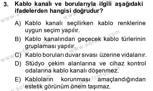 Radyo ve Televizyonda Ölçü Bakım Dersi 2013 - 2014 Yılı (Final) Dönem Sonu Sınav Soruları 3. Soru