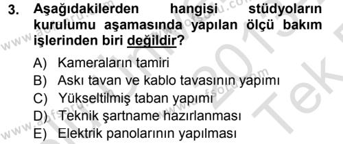 Radyo ve Televizyonda Ölçü Bakım Dersi 2013 - 2014 Yılı Tek Ders Sınav Soruları 3. Soru