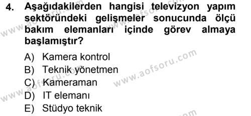 Radyo ve Televizyonda Ölçü Bakım Dersi 2013 - 2014 Yılı Tek Ders Sınav Soruları 4. Soru