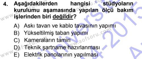 Radyo ve Televizyonda Ölçü Bakım Dersi 2014 - 2015 Yılı (Vize) Ara Sınav Soruları 4. Soru
