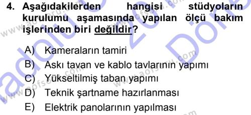 Radyo ve Televizyonda Ölçü Bakım Dersi 2015 - 2016 Yılı (Final) Dönem Sonu Sınav Soruları 4. Soru