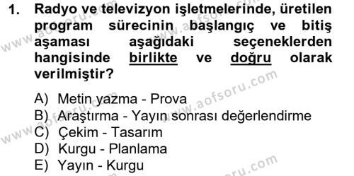 Radyo ve Televizyon İşletmeciliği Dersi 2012 - 2013 Yılı (Final) Dönem Sonu Sınav Soruları 1. Soru