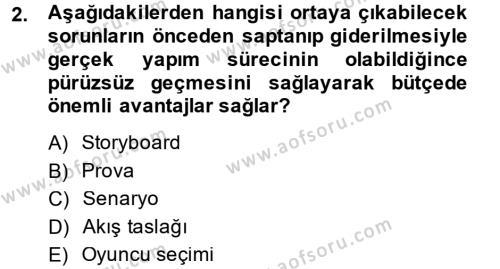 Radyo ve Televizyon Stüdyoları Dersi 2013 - 2014 Yılı (Vize) Ara Sınav Soruları 2. Soru