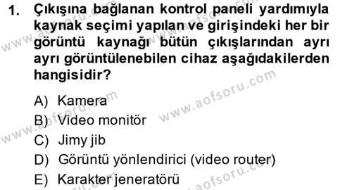 Radyo ve Televizyon Stüdyoları Dersi 2014 - 2015 Yılı (Vize) Ara Sınav Soruları 1. Soru