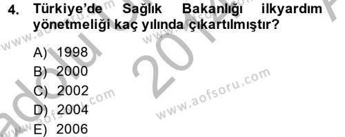 Özel Güvenlik ve Koruma Bölümü 2. Yarıyıl Temel İlk Yardım Bilgisi Dersi 2015 Yılı Bahar Dönemi Ara Sınavı 4. Soru