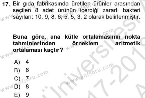 Sağlık Alanında İstatistik Dersi Ara Sınavı Deneme Sınav Soruları 17. Soru