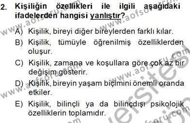 Çocuk Ruh Sağlığı Dersi 2013 - 2014 Yılı (Final) Dönem Sonu Sınav Soruları 2. Soru
