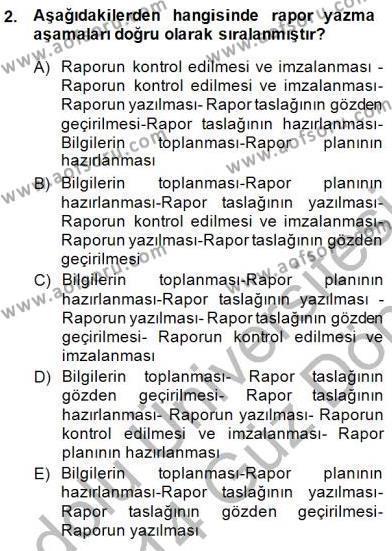 Tıbbi Belgeleme Dersi 2013 - 2014 Yılı (Final) Dönem Sonu Sınav Soruları 2. Soru