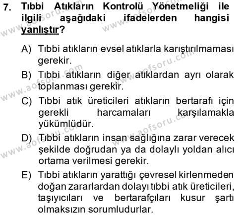 Sağlık Kurumları Mevzuatı Dersi Ara Sınavı Deneme Sınav Soruları 7. Soru