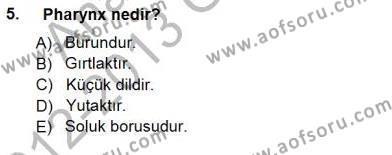 Sağlık Yönetimi Bölümü 5. Yarıyıl Tıbbi Terminoloji Dersi 2013 Yılı Güz Dönemi Dönem Sonu Sınavı 5. Soru