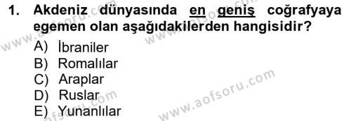 Kültürel Miras ve Turizm Bölümü 3. Yarıyıl Akdeniz Uygarlıkları Sanatı Dersi 2013 Yılı Güz Dönemi Dönem Sonu Sınavı 1. Soru