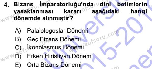 Kültürel Miras ve Turizm Bölümü 3. Yarıyıl Akdeniz Uygarlıkları Sanatı Dersi 2016 Yılı Güz Dönemi Dönem Sonu Sınavı 4. Soru