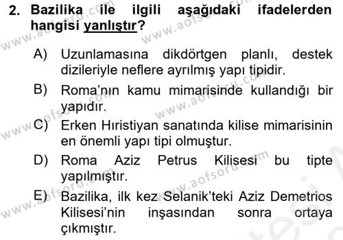 Akdeniz Uygarlıkları Sanatı Dersi 2018 - 2019 Yılı (Final) Dönem Sonu Sınav Soruları 2. Soru
