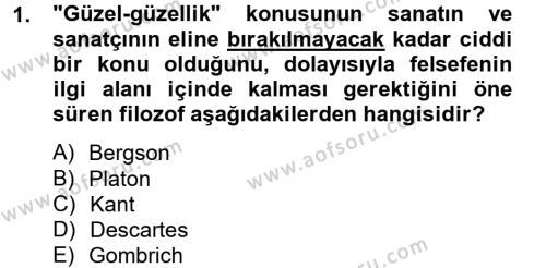 Radyo ve Televizyon Programcılığı Bölümü 4. Yarıyıl Güzel Sanatlar Dersi 2013 Yılı Bahar Dönemi Ara Sınavı 1. Soru